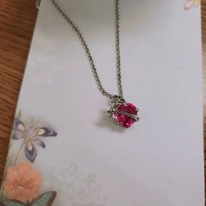 Juicy Couture pink crystal heart pendant necklace